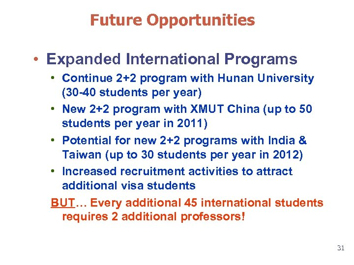 Future Opportunities • Expanded International Programs • Continue 2+2 program with Hunan University (30