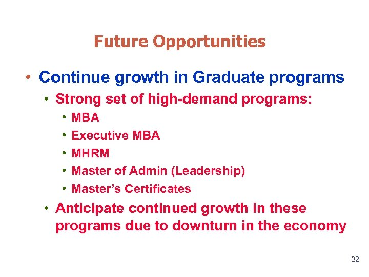 Future Opportunities • Continue growth in Graduate programs • Strong set of high-demand programs: