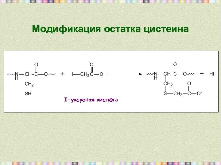 Модификация остатка цистеина I-уксусная кислота