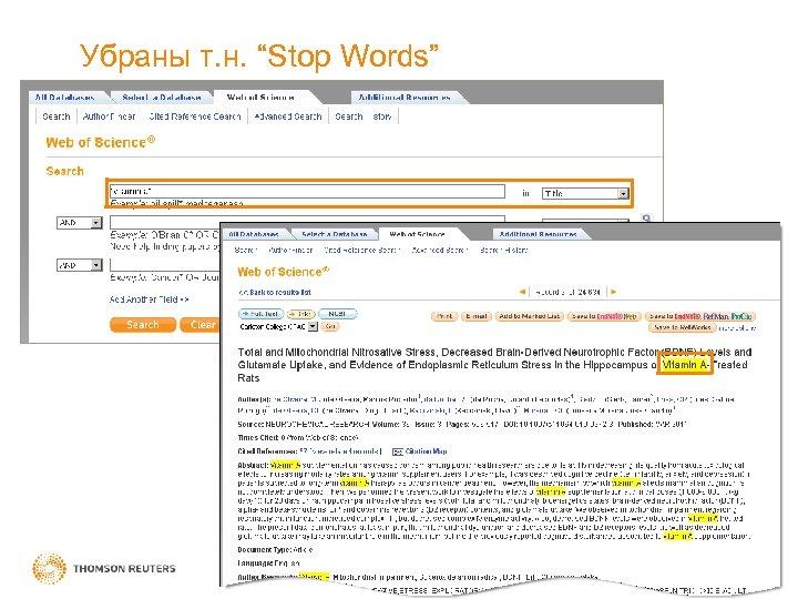 "Убраны т. н. ""Stop Words"""