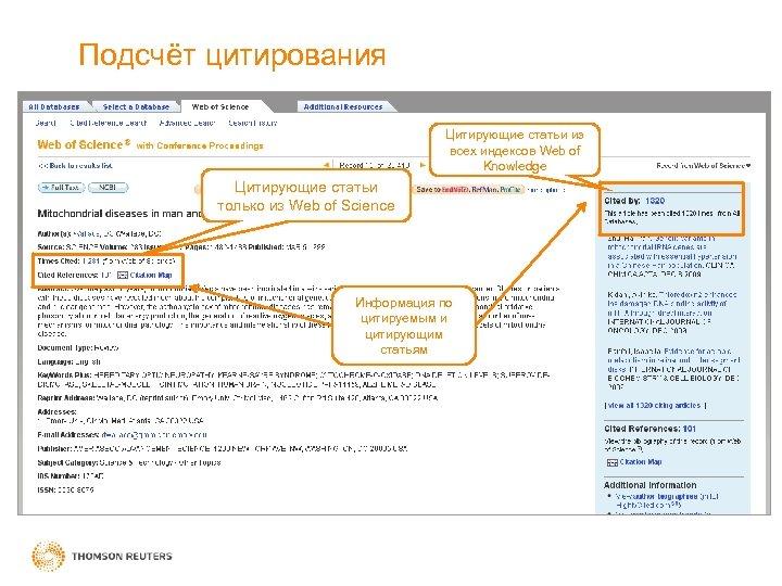 Подсчёт цитирования Цитирующие статьи из всех индексов Web of Knowledge Цитирующие статьи только из