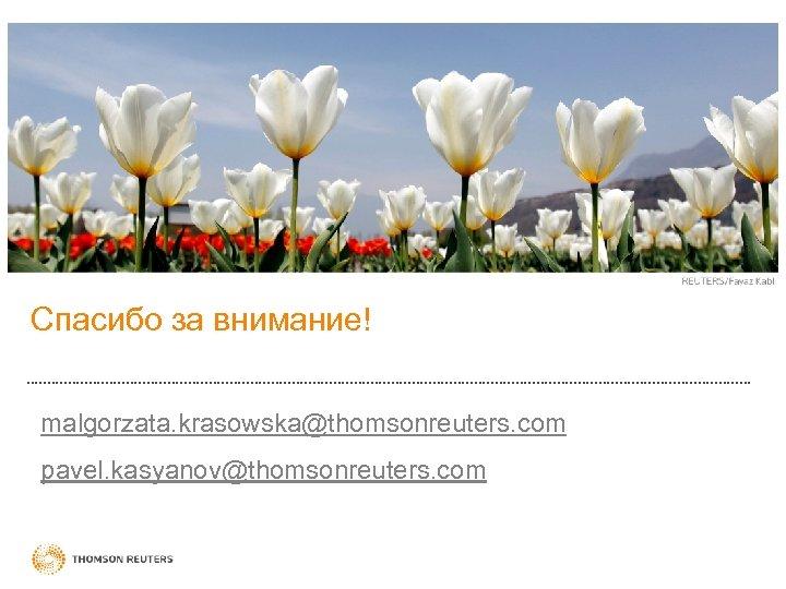 Спасибо за внимание! malgorzata. krasowska@thomsonreuters. com pavel. kasyanov@thomsonreuters. com