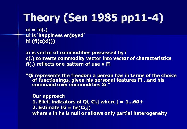 Theory (Sen 1985 pp 11 -4) ui = hi(. ) ui is 'happiness enjoyed'