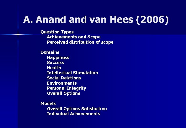 A. Anand van Hees (2006) Question Types Achievements and Scope Perceived distribution of scope