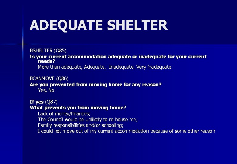 ADEQUATE SHELTER BSHELTER (Q 85) Is your current accommodation adequate or inadequate for your