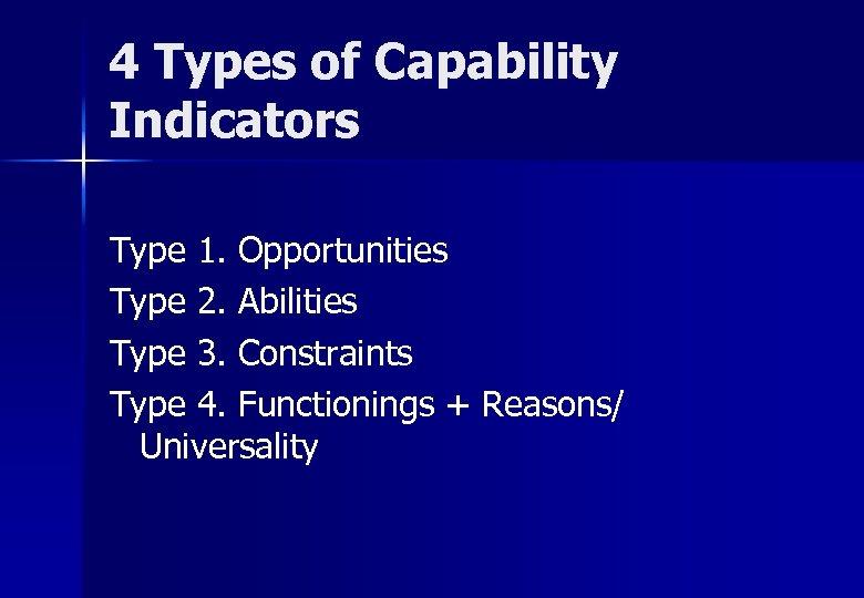 4 Types of Capability Indicators Type 1. Opportunities Type 2. Abilities Type 3. Constraints