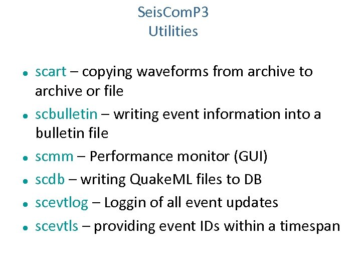 Seis. Com. P 3 Utilities scart – copying waveforms from archive to archive or