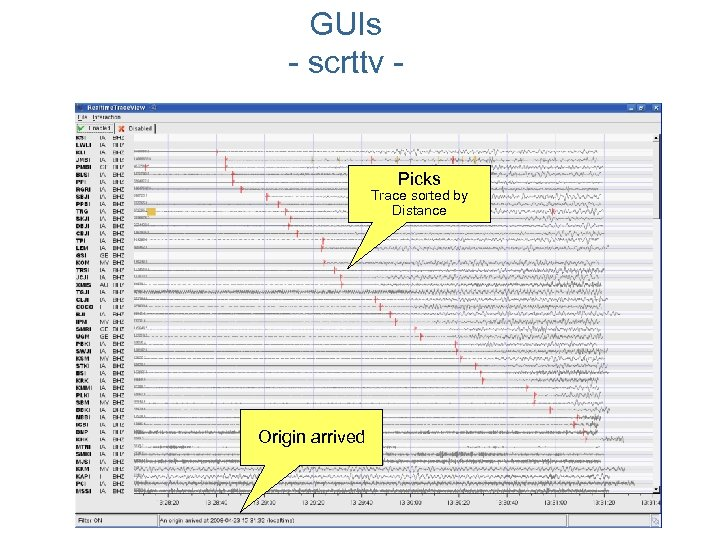 GUIs - scrttv - Picks Trace sorted by Distance Origin arrived