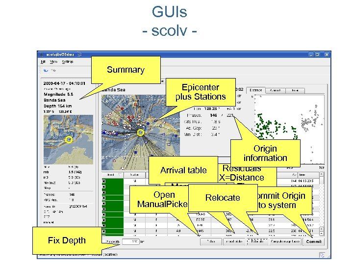 GUIs - scolv Summary Epicenter plus Stations Origin information Residuals Arrival table X=Distance Merge