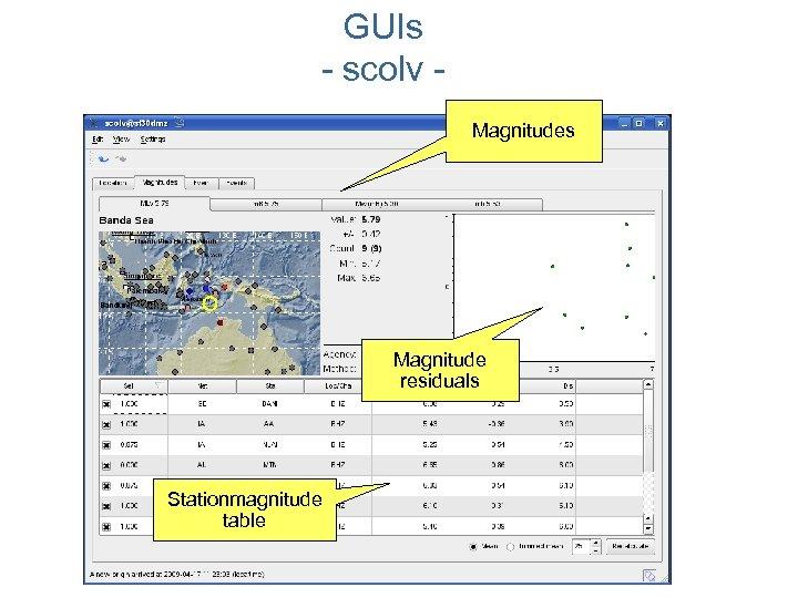 GUIs - scolv Magnitudes Magnitude residuals Stationmagnitude table