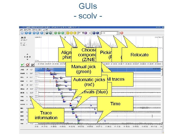 GUIs - scolv - Choose Align traces by Picking mode Filter Relocate component phase