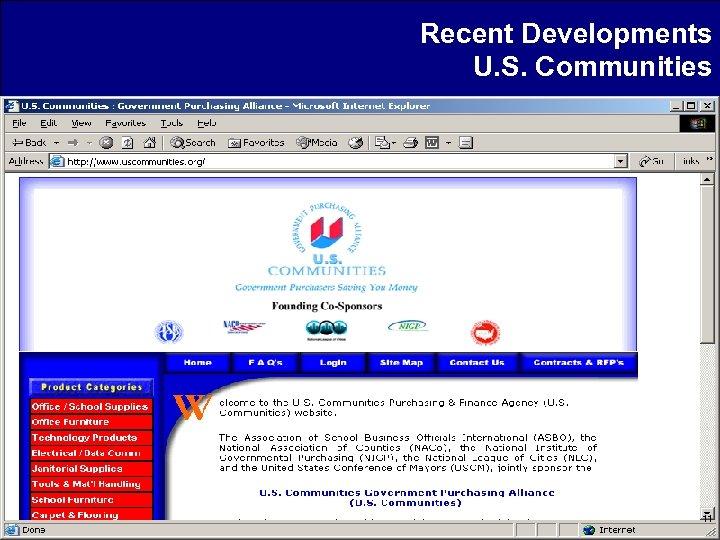 Recent Developments U. S. Communities 11
