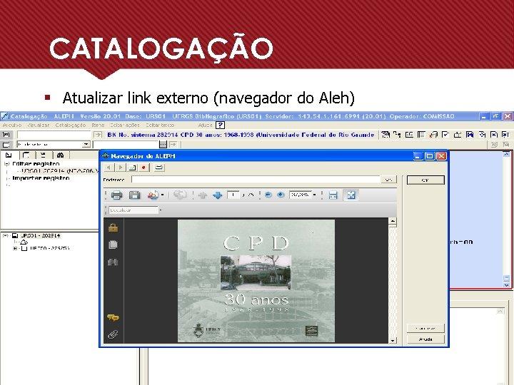 CATALOGAÇÃO § Atualizar link externo (navegador do Aleh)