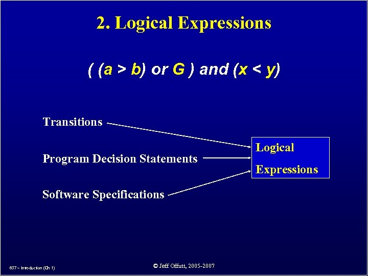 2. Logical Expressions ( (a > b) or G ) and (x < y)