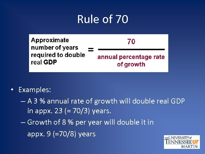 Rule of 70 • Examples: – A 3 % annual rate of growth will