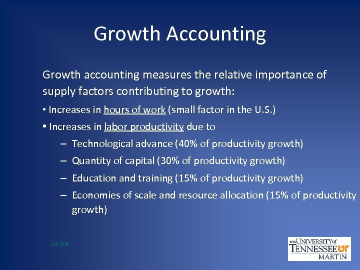 Growth Accounting Growth accounting measures the relative importance of supply factors contributing to growth:
