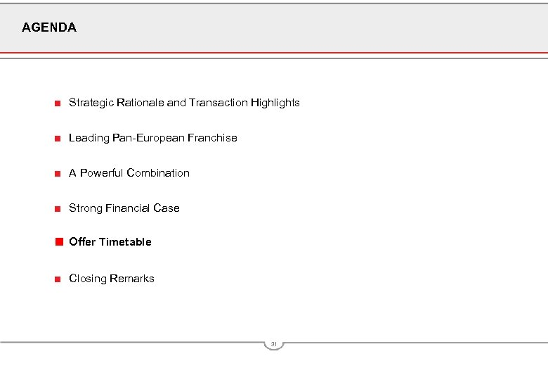 AGENDA ■ Strategic Rationale and Transaction Highlights ■ Leading Pan-European Franchise ■ A Powerful