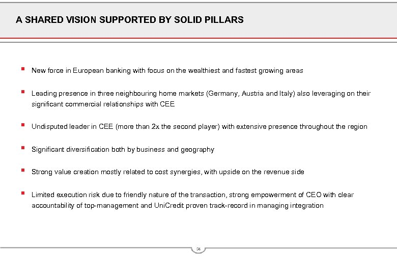 A SHARED VISION SUPPORTED BY SOLID PILLARS § New force in European banking with