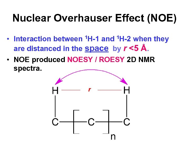 Nuclear Overhauser Effect (NOE) • Interaction between 1 H-1 and 1 H-2 when they
