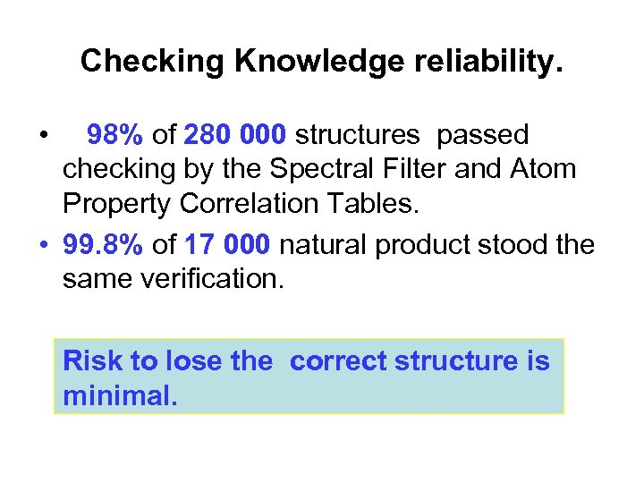 Checking Knowledge reliability. • 98% of 280 000 structures passed checking by the Spectral