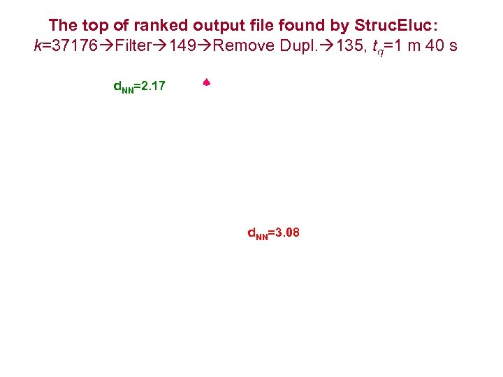 The top of ranked output file found by Struc. Eluc: k=37176 Filter 149 Remove