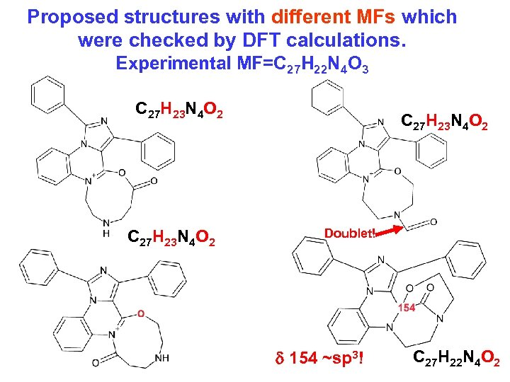 Proposed structures with different MFs which were checked by DFT calculations. Experimental MF=C 27