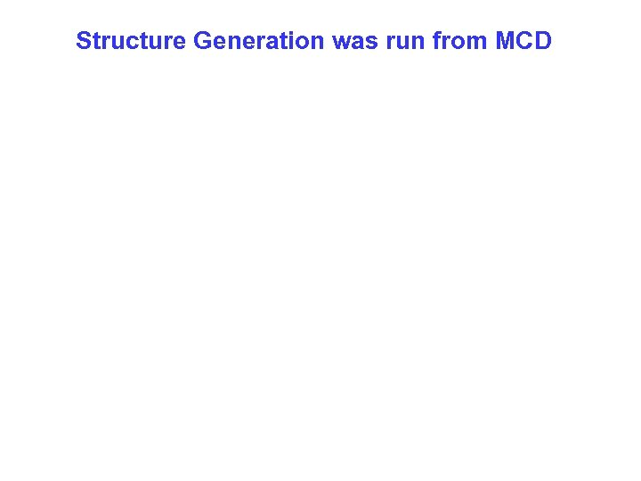 Structure Generation was run from MCD