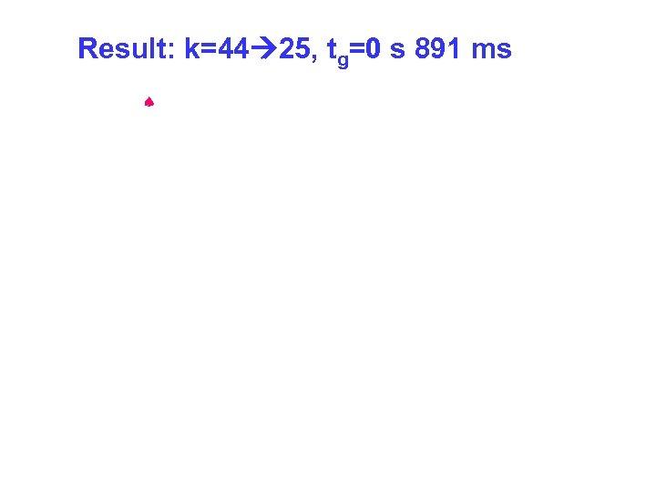 Result: k=44 25, tg=0 s 891 ms