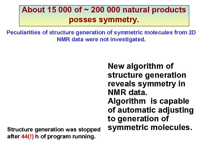 About 15 000 of ~ 200 000 natural products posses symmetry. Peculiarities of structure