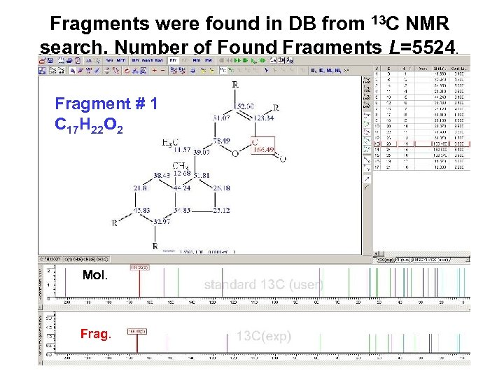 Fragments were found in DB from 13 C NMR search. Number of Found Fragments