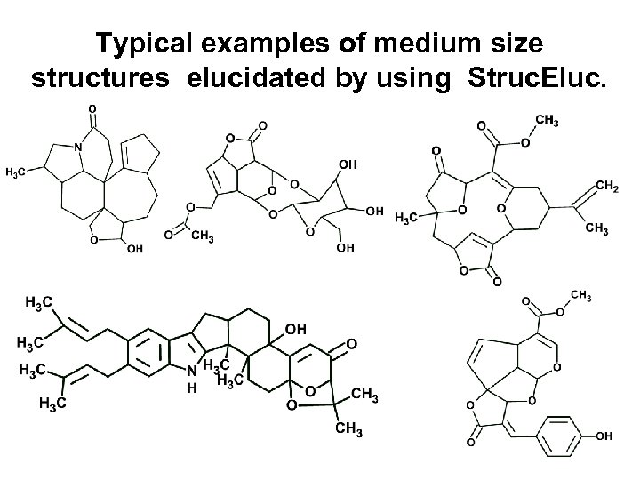 Typical examples of medium size structures elucidated by using Struc. Eluc.