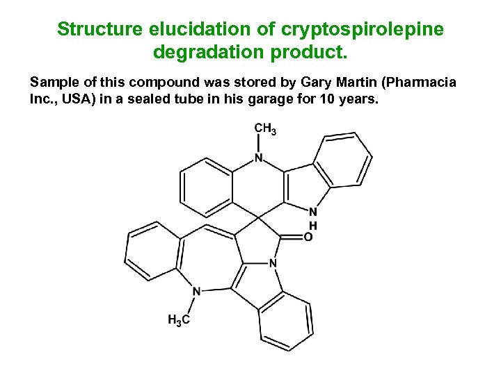 Structure elucidation of cryptospirolepine degradation product. Sample of this compound was stored by Gary