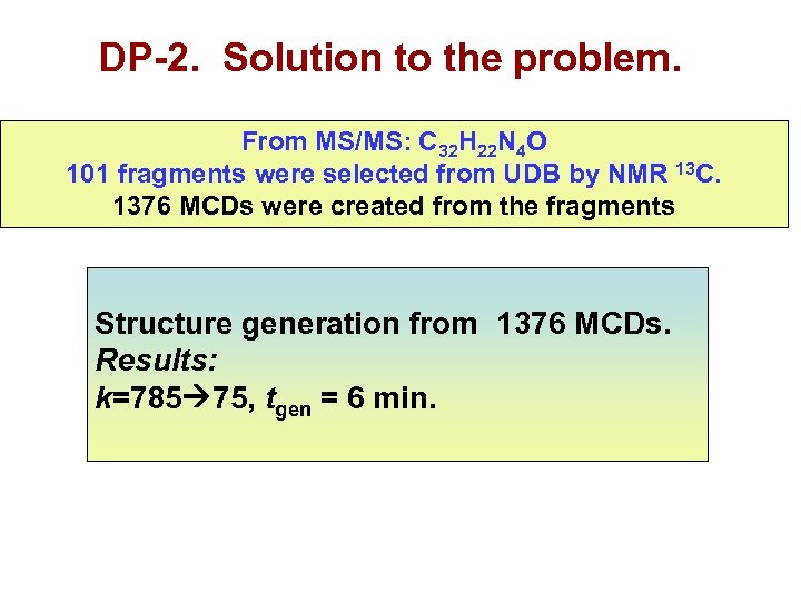 DP-2. Solution to the problem. From MS/MS: C 32 H 22 N 4 O
