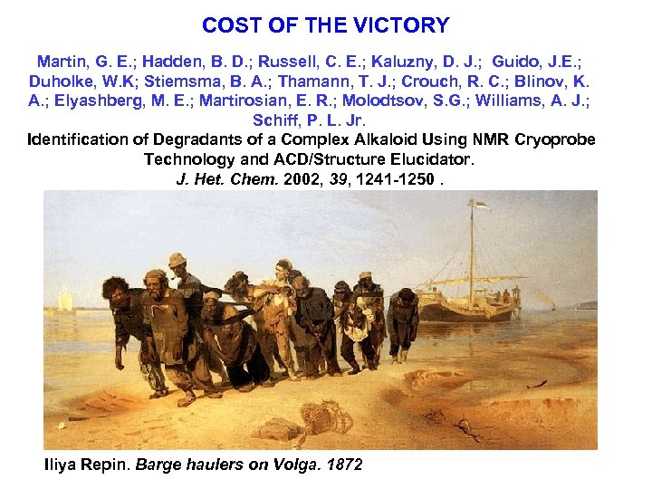COST OF THE VICTORY Martin, G. E. ; Hadden, B. D. ; Russell, C.