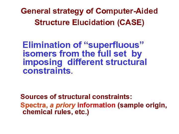 """General strategy of Computer-Aided Structure Elucidation (CASE) Elimination of """"superfluous"""" isomers from the full"""