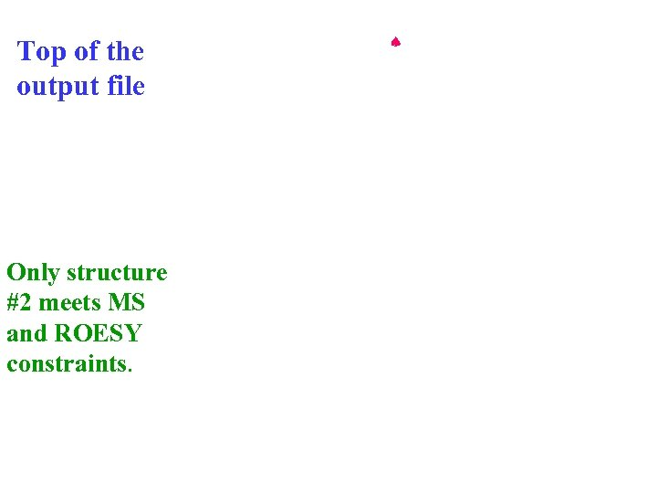 Top of the output file Only structure #2 meets MS and ROESY constraints.
