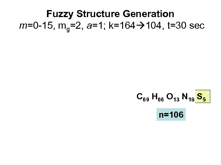 Fuzzy Structure Generation m=0 -15, mg=2, a=1; k=164 104, t=30 sec C 69 H