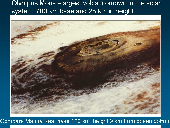 Olympus Mons –largest volcano known in the solar system: 700 km base and 25
