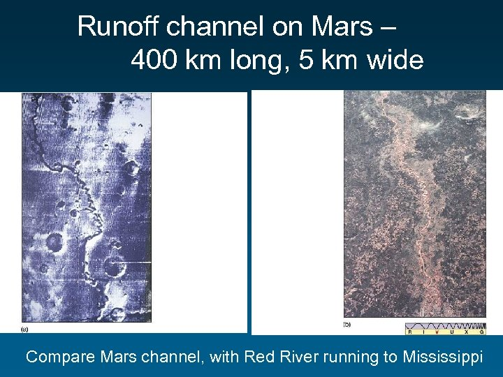 Runoff channel on Mars – 400 km long, 5 km wide Compare Mars channel,