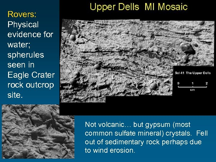 Rovers: Physical evidence for water; spherules seen in Eagle Crater rock outcrop site. Not