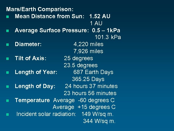 Mars/Earth Comparison: n Mean Distance from Sun: 1. 52 AU 1 AU n Average