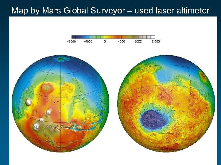 Map by Mars Global Surveyor – used laser altimeter