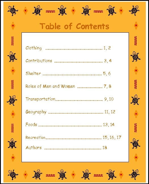 Table of Contents Clothing. . . . 1, 2 Contributions. . . 3, 4