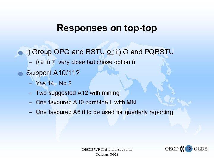 Responses on top-top n i) Group OPQ and RSTU or ii) O and PQRSTU