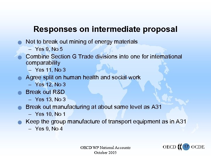 Responses on intermediate proposal n Not to break out mining of energy materials –