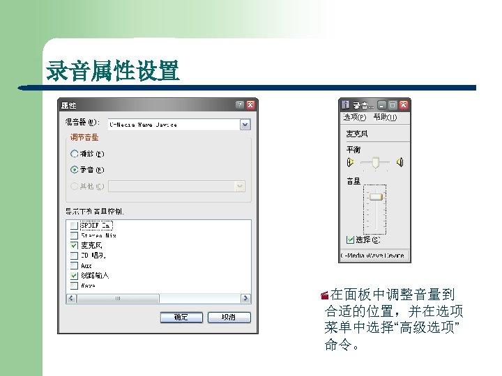"""录音属性设置 ·在面板中调整音量到 合适的位置,并在选项 菜单中选择""""高级选项"""" 命令。"""