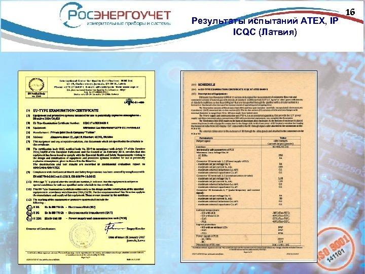 Результаты испытаний АТЕХ, IP ICQC (Латвия) 16