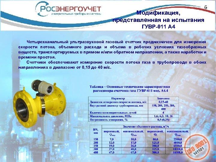 6 Модификация, представленная на испытания ГУВР-011 А 4 Четырехканальный ультразвуковой газовый счетчик предназначен для