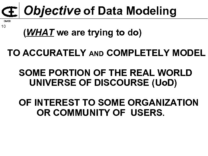 Objective of Data Modeling DMOD 10 (WHAT we are trying to do) TO ACCURATELY