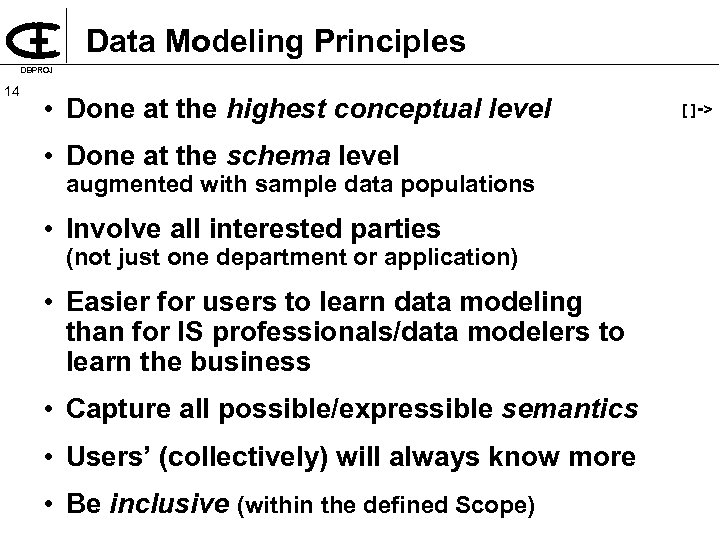 Data Modeling Principles DBPROJ 14 • Done at the highest conceptual level • Done